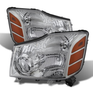 ( OE ) Nissan Titan 04-15 (04-07 OE Style ) / Armada 04-07 OEM Amber Head Lights set - Chrome