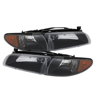 ( xTune ) Pontiac Grand Prix 97-03 Crystal Headlights W/ Amber Corner Lights - Black