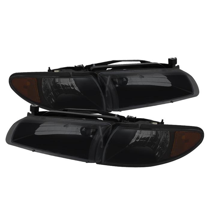 ( xTune ) Pontiac Grand Prix 97-03 Crystal Headlights W/ Amber Corner Lights - Black Smoked