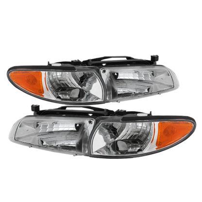 ( OE ) Pontiac Grand Prix 97-03 Crystal Headlights W/ Amber Corner Lights - Chrome