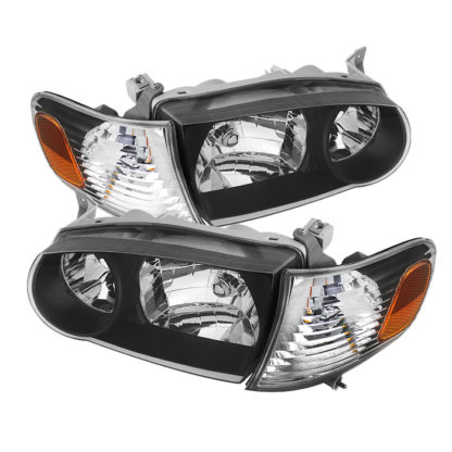 ( xTune ) Toyota Corolla 01-02 Crystal Headlights W/ Amber Corner Lights - Black