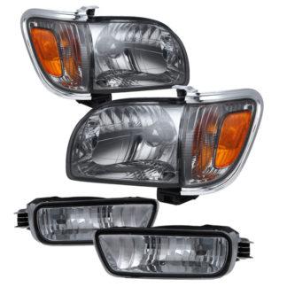 ( xTune ) Toyota Tacoma 01-04 Crystal Headlights W/ Amber Corner & Side Marker Lights 6pcs - Smoke