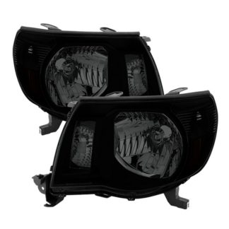 ( xTune ) Toyota Tacoma 05-11 Amber Crystal Headlights – Black Smoked