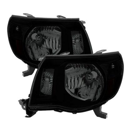 ( xTune ) Toyota Tacoma 05-11 Amber Crystal Headlights - Black Smoked