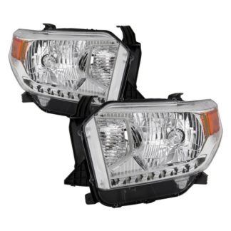 ( OE ) Toyota Tundra 2014-2017 / 2018 Tundra ( will only fit SR and SR5 Model ) Halogen Models only ( don't fit Models with Daytime Running Light Function ) OEM Style Headlights – Chrome