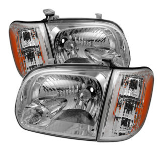 ( OE ) Toyota Tundra Double Cab 4 Door Only 05-06 / Sequoia 05-07 OEM Style Headlights & Corner Lights - Chrome