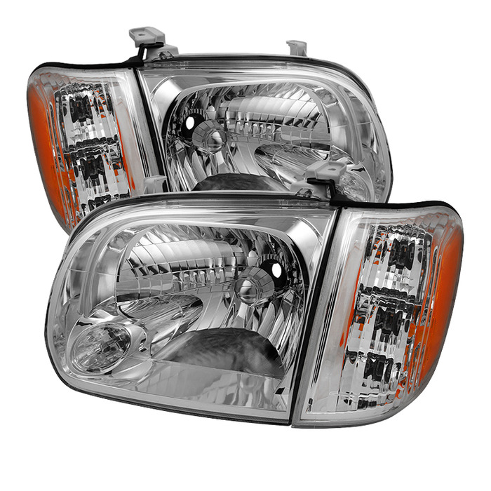 ( OE ) Toyota Tundra Double Cab 4 Door Only 05-06 / Sequoia 05-07 OEM Style Headlights & Corner Lights - Chrome