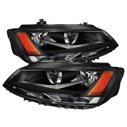 ( OE ) Volkswagen Jetta 11-18 Amber Crystal Headlights - Halogen Model Only ( Not Compatible With Xenon/HID Model )/Only fits sedan models - Black