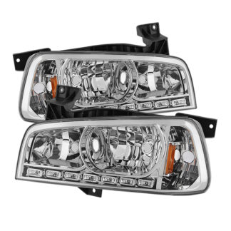 ( xTune ) Dodge Charger 06-10 1PC LED Crystal Headlights - Chrome