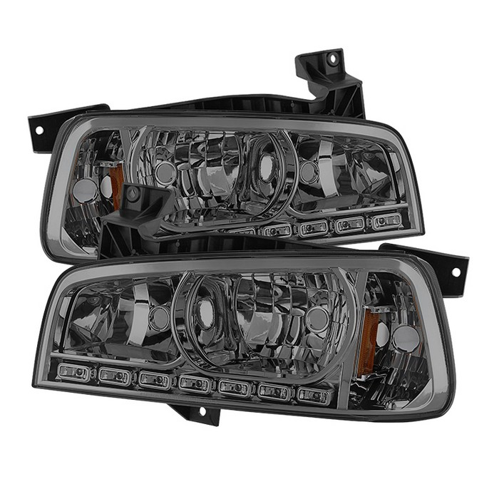 ( xTune ) Dodge Charger 06-10 1PC LED Crystal Headlights - Smoke