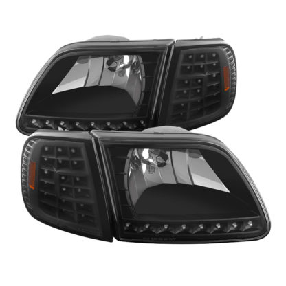 ( xTune ) Ford F150 97-03 / Expedition 97-02 ( Will Not Fit Anything Before Manu. Date June 1997 ) Crystal Headlights W/ Clear LED Corners - Black