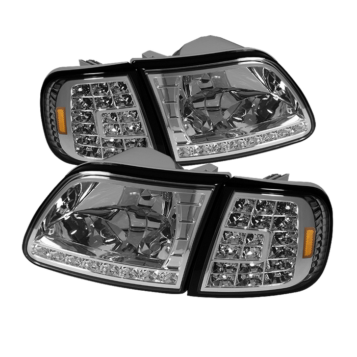 ( xTune ) Ford F150 97-03 / Expedition 97-02 ( Will Not Fit Anything Before Manu. Date June 1997 ) Crystal Headlights W/ Clear LED Corners - Chrome