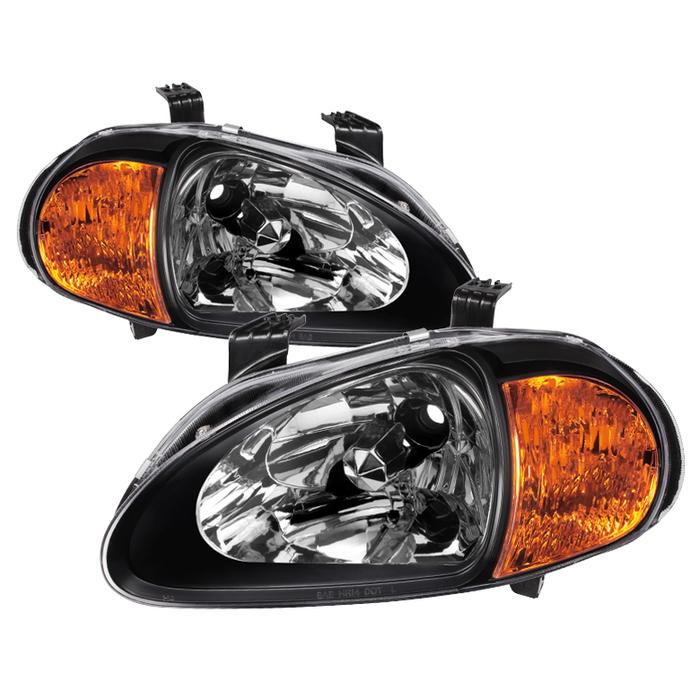 ( xTune ) Honda Del Sol 93-97 1PC Amber Crystal Headlights - Black