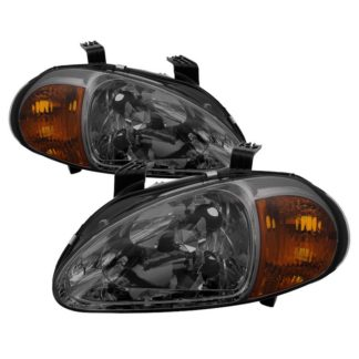 ( xTune ) Honda Del Sol 93-97 1PC Amber Crystal Headlights - Smoke