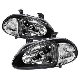 ( xTune ) Honda Del Sol 93-97 1PC Crystal Headlights - Black