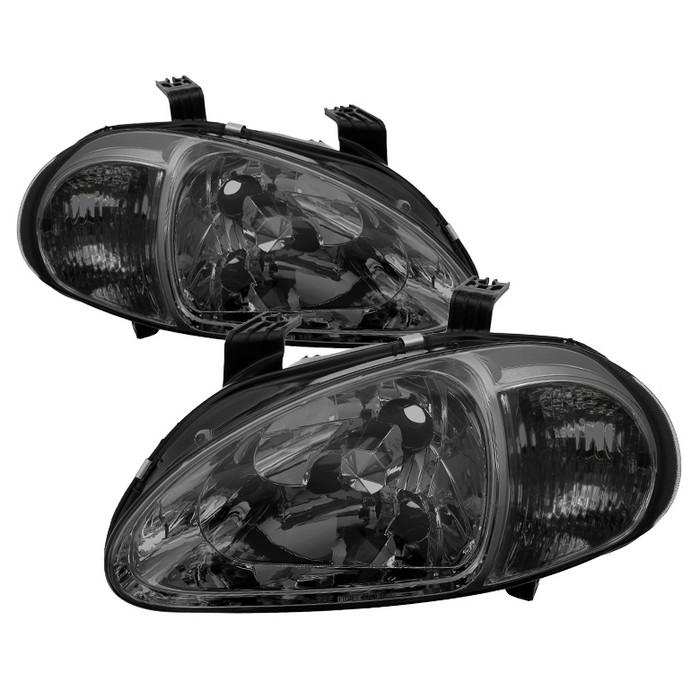 ( xTune ) Honda Del Sol 93-97 1PC Crystal Headlights - Smoke