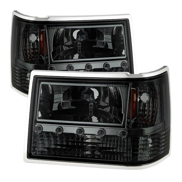 ( xTune ) Jeep Grand Cherokee 93-98 1PC Crystal Headlights - Smoke