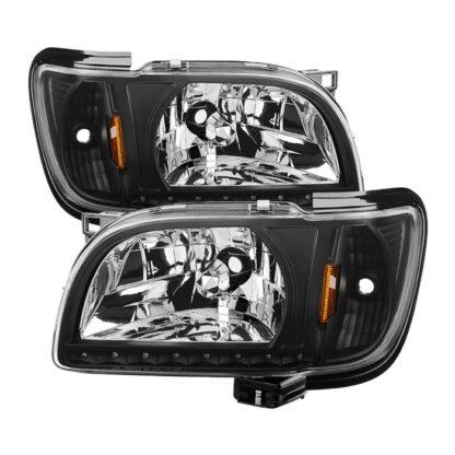 ( xTune ) Toyota Tacoma 01-04 1 Piece with Black Trim Corner Crystal Headlights - Black
