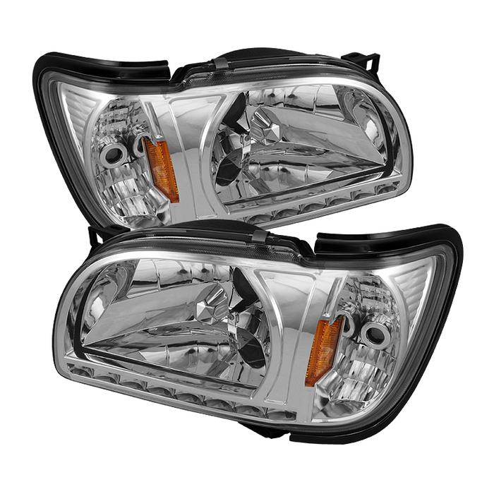 ( xTune ) Toyota Tacoma 01-04 1 Piece with Black Trim Corner Crystal Headlights - Chrome