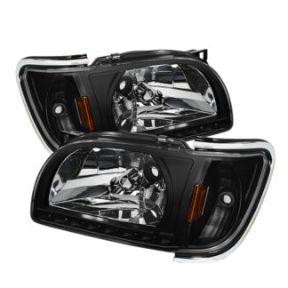 ( xTune ) Toyota Tacoma 01-04 1 Piece with Chrome Trim Corner Crystal Headlights - Black