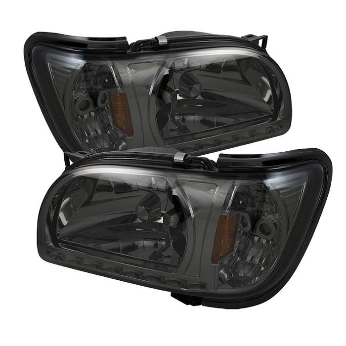 ( xTune ) Toyota Tacoma 01-04 1 Piece with Black Trim Corner Crystal Headlights - Smoke