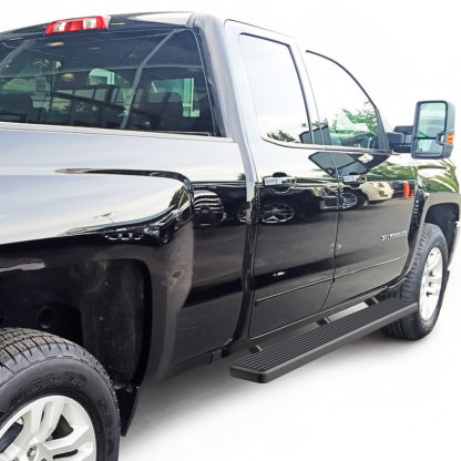 iStep 6 Inch Running Board 2007-2018 Chevy Silverado 1500 Ext Cab/ Double Cab Black Finish