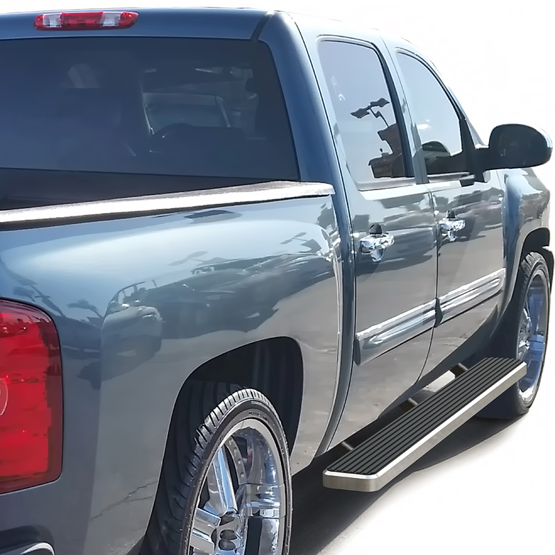 iStep 6 Inch Running Board 2001-2014 GMC Sierra 3500 Crew Cab  Hairline Finish