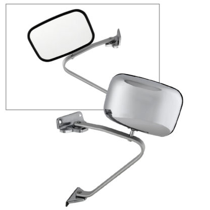 MIR-15148-120-M-0 Ford Pickup / Bronco 80-97 OE Mirror Chrome Manual - Fit Both Side | OE# E5TZ-17696-A (B)     PL#   FO1321102 FO1320102