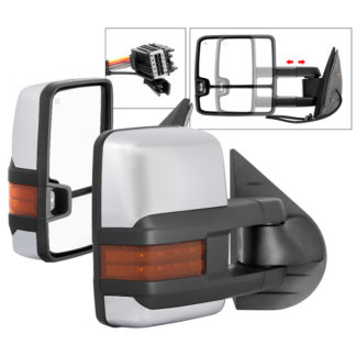 MIR-CSIL07S-G3C-PWH-AM-SET Chevy Silverado 07-13 G3 Power Heated Amber LED Signal Telescoping Mirror Chrome Cover - SET