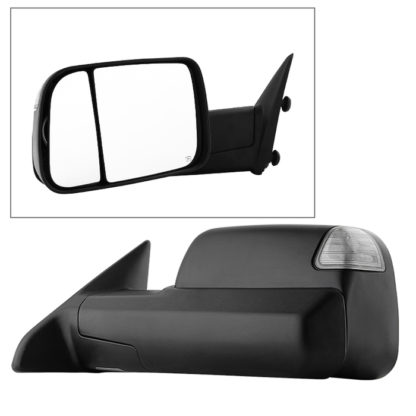 MIR-DRAM09S-PWH-L Dodge Ram 1500 09-12 Manual Extendable - POWER Heated Adjust Mirror with LED Signal Black Housing - LEFT Fit: Ram 2500/3500 10-12