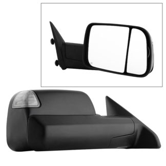 MIR-DRAM09S-PWH-R Dodge Ram 1500 09-12 Manual Extendable - POWER Heated Adjust Mirror with LED Signal Black Housing - Right Fit: Ram 2500/3500 10-12