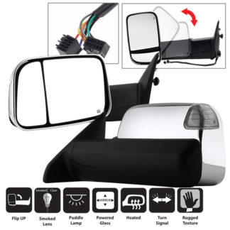 MIR-DRAM10-PW-SET Dodge Ram 1500 09-12 L&R Manual Extendable - POWER Heated Adjust Mirror with LED Signal. Fit: Ram 2500/3500 10-12