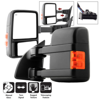 MIR-FDSD08S-MA-AM-SET Ford SuperDuty 99-15  L&R Manual Extendable - Manual Adjust Mirror with LED Signal Amber - SET