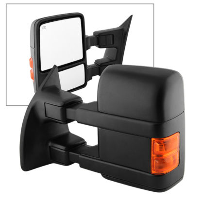 MIR-FDSD08S-PW-AM-L Ford SuperDuty 08-14 Manual Extendable - POWER Heated Adjust Mirror with LED Signal Amber - LEFT