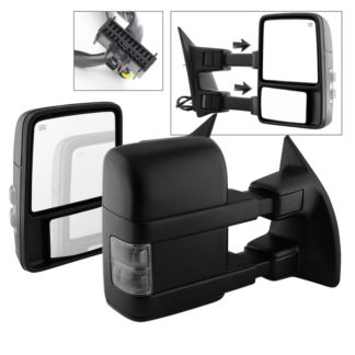 MIR-FDSD08S-PW-SM-SET Ford SuperDuty 08-15 L&R Manual Extendable - POWER Heated Adjust Mirror with LED Signal Smoke Fit: F250/F350/F450/F550 08-15