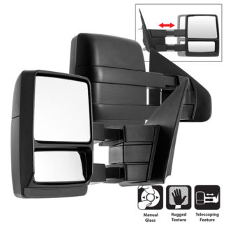 MIR-FF15004-MA-SET Pair - Ford SuperDuty 04-14 MANUAL Telescoping Mirrors | Fit: Ford Excursion 2000-05 Ford F250 Super Duty Truck 1999 Ford F250 Super Duty Truck 2000-10 Ford F350 Super Duty Truck 1999-10 Ford F450 Truck 1999-03 Ford F550 Truck1999-03