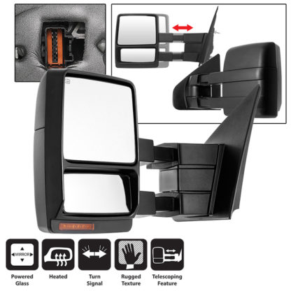 MIR-FF15004S-PWH-AM-L Ford F150 04-06 POWER Heated Amber LED Signal Telescoping Mirror - Left