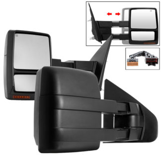 MIR-FF15009S-PWH-AM-SET Ford F150 04-14 POWER Heated Amber LED Signal Telescoping Mirror - SET