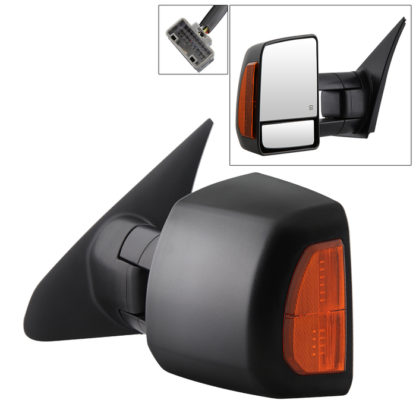 MIR-TTUN07S-PWH-L Toyota Tundra 07-14 Power Heated Amber LED Signal Telescoping Mirror - Left