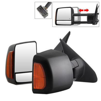 MIR-TTUN07S-PWH-SET Toyota Tundra 07-14 Power Heated Amber LED Signal Telescoping Mirrors - SET