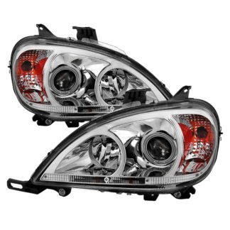 Mercedes Benz W163 M-Class 98-05 Amber Projector Headlights - Chrome