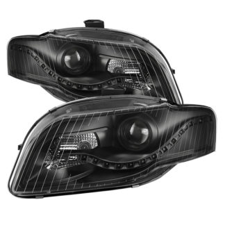 Audi A4 06-08 Projector Headlights - Halogen Model Only ( Not Compatible With Xenon/HID and Convertible Model ) - DRL LED - Black