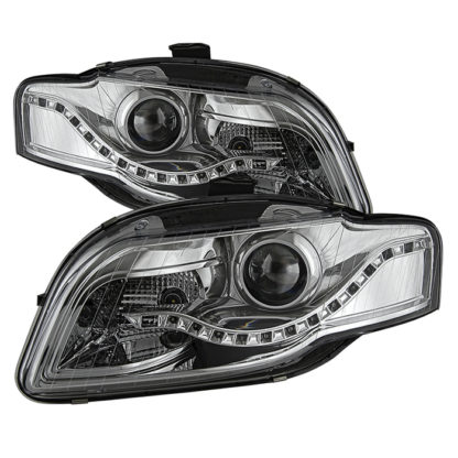 Audi A4 06-08 Projector Headlights - Halogen Model Only ( Not Compatible With Xenon/HID and Convertible Model ) - DRL LED - Chrome