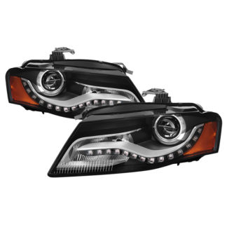 Audi A4 09-11 Amber Projector Headlights - OE Style - Halogen Model Only ( Not Compatible With Xenon/HID Model / Does not fit the Quattro) - Black