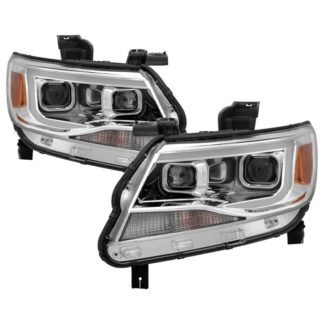 Chevy Colorado 2015-2017 Halogen Models Only ( Not Compatible With Xenon/HID Model ) Projector Headlights - Light Bar DRL - Chrome