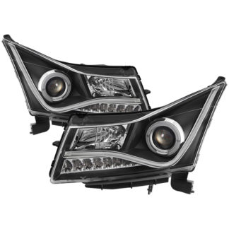 Chevy Cruze 11-14 Projector Headlights Light Bar DRL - Black