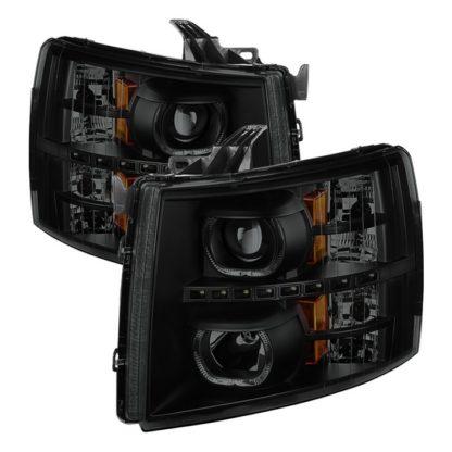 Chevy Silverado 1500/2500/3500 07-13 LED Halo Projector Headlights - Black Smoked