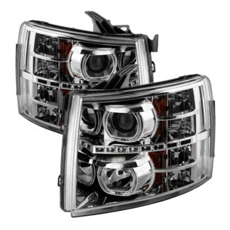 Chevy Silverado 1500/2500/3500 07-13 LED Halo Projector Headlights - Chrome