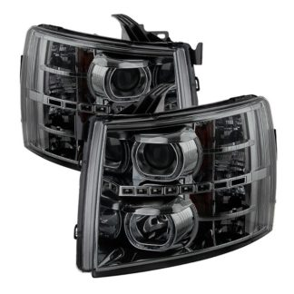 Chevy Silverado 1500/2500/3500 07-13 LED Halo Projector Headlights - Smoked