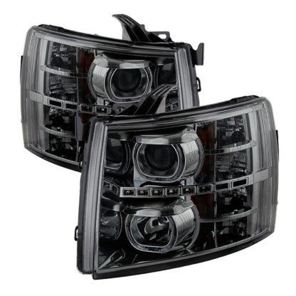 Chevy Silverado 1500/2500/3500 07-13 LED Halo Projector Headlights - Smoked